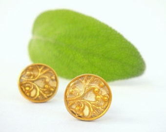 Gold plated,sterling silver ,round post earrings,christmas gift,golden filigree