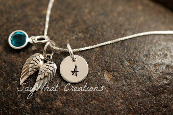 Sterling Silver Mini Initial Charm Necklace with Angel Wings Charm and birthstone
