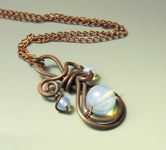 Copper necklace, opalite necklace, milky white stone beads copper wire wrapped jewelry