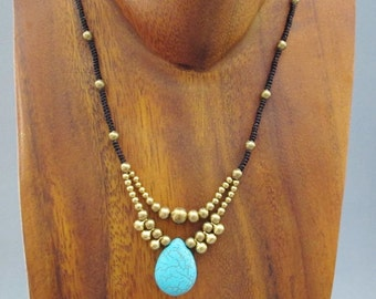 Charm Turquoise Pendant and Brass Bead Necklace
