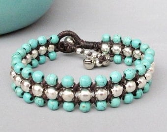 Candy Season Turquoise Triple Row Macrame Bracelet