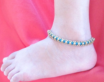 Brass Bead and Blue Wax Cord Square Knot Anklet  A195