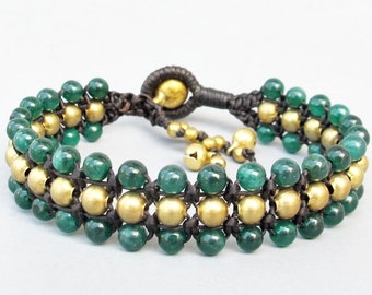 Fruity Season Green Jade Bead Triple Row Macrame Bracelet B181