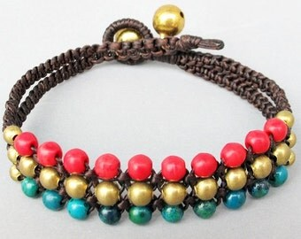 Mini Triple Row Macrame Bracelet with Red Coral and Chrysocolla Bead B185