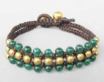 Mini Triple Row Macrame Bracelet with Green Jade  Bead B185