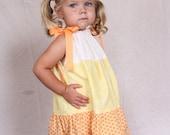 Baby Girl Costume, Candy corn dress, Candy corn pillowcase dress