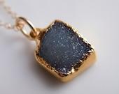 Druzy Necklace in Midnight Blue
