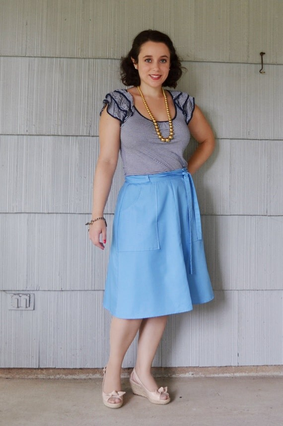 Vintage Skirt Light Blue Baby Blue Wrap Skirt Medium Large Pockets