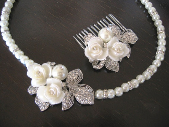 Erin - Bridal Set - Necklace and Hair Comb, (2 Items ) bridal pearls necklace Swarovski ,Wedding jewelry - Pearl Necklace -Bridal Jewelry