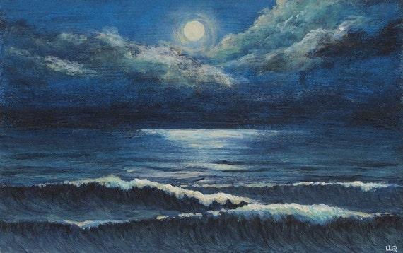 Moonlight ocean waves original acrylic painting Midnight Stroll moon and cloud