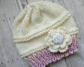 Baby Beanie in Soft White and Pink Baby Gift Photo Prop Baby Beanie Crochet Flower