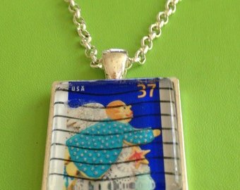 Angel Stamp Pendant Necklace
