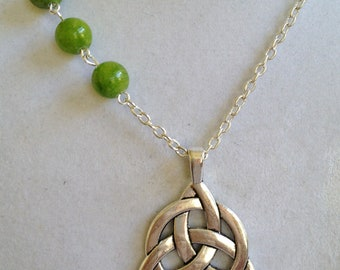 Celtic and Jade Pendant Necklace