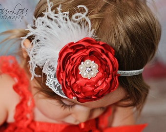 Gorgeous Holiday Red Satin Flower Headband - Baby Girl Toddler Headband - Perfect Holiday Photo Prop