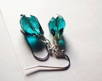 Viridian - simple teal crystal teardrop earrings
