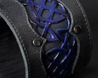 Leather Cuff Bracelet:  Celtic Blue Horizon Cuff