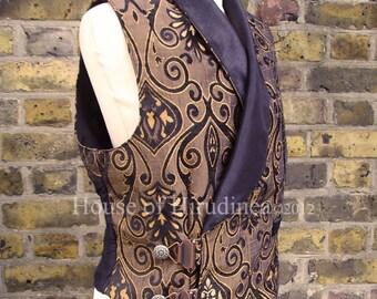 Mens steampunk vest waistcoat bronze brocade black silk