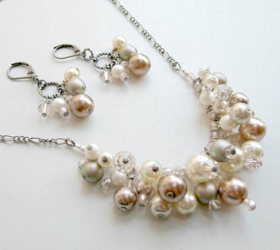 Statement Necklace - Bridal Jewelry - Elegant - Pearls - Crystals - Glass - Champagne - Pale Pink - Silver - Cream - Ivory - Gift Under 50