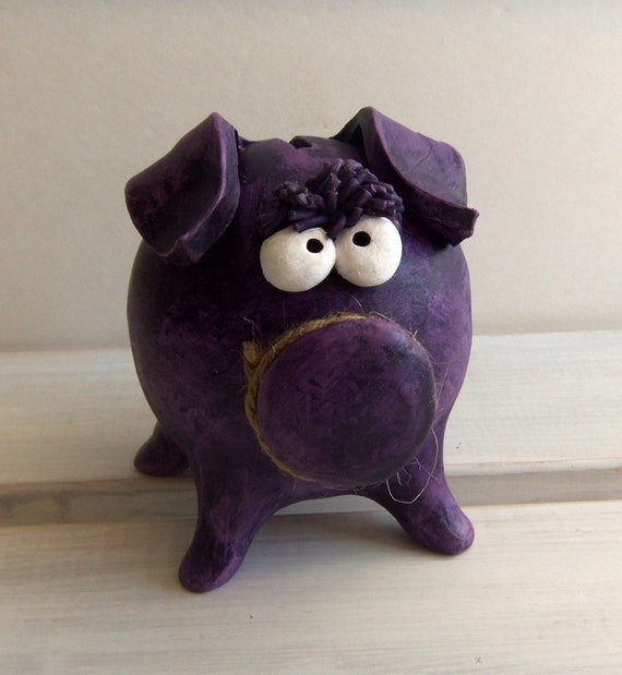 BABY BOY SHOWER Clay Piggy Bank -- Purple Patina and Funky Eyes