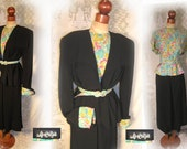 Reserved for Sarah..Rare Vintage 1930s Black Rayon Suit with Whimsical Rayon Blouse and belt Matching the Suit