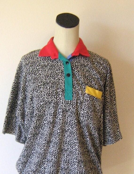 1990's Fresh Prince Color Block Oversize Shirt Top