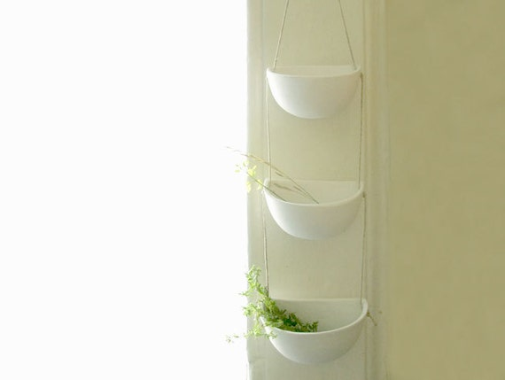 Porcelain Hanging Pots Trio, Wabi Sabi Decor, White Scandinavian Decor, Mini Ceramic Hanging Pots, Wall Hanging