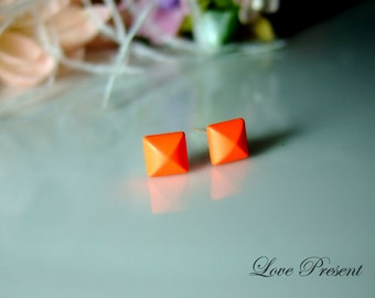 Rock N Roll and Punk Solid Pyramid earrings stud style - Orange/Pink/Lime/Blue - Choose your color