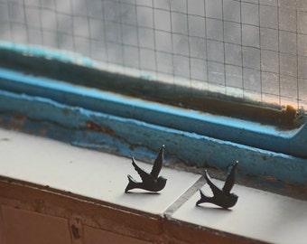 Peace Dove cutie Earrings - Color Black or White - Choose your color