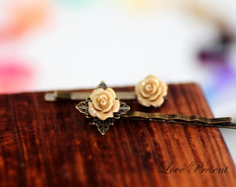Bridesmaids Accessories - Cutie Petite Rose French Bobby Pin with Filigree & its Baby Pin - Choose your color