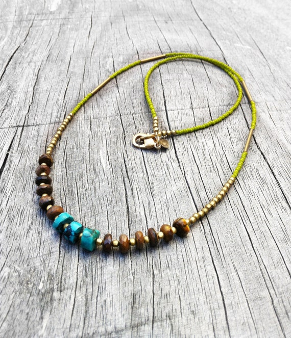 Olive Tiger - Turquoise, Seed Bead, Tiger Eye stone beaded necklace, Neo Tribal Chic, Autumn Fall Colors, OOAK, Earth Tones