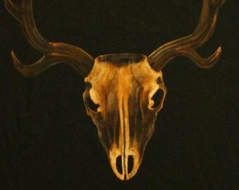 Deer Skull XL TShirt - Bleach Painted - Handmade - Natural History - Deer Antlers - Gifts for Him - Mens Gifts