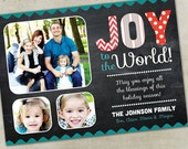 Holiday Photo Card  - OH JOY (red and teal)