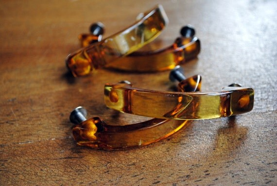 Set of 4 Amber Lucite Handles