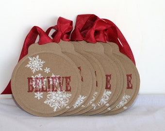 I Believe Christmas tags snowflake Christmas tags