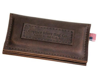 iPhone 4 Wallet - Brown -  with label - 100% Full Grain Leather - Made in the U.S.A. - Free Shipping