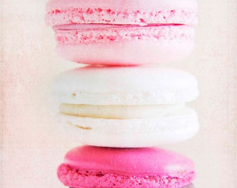 pink french macaron, french macaroon, food photography, pink and white, nursery decor, macaroon print, wall art, sweet, 8x10, fine art photo