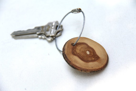 wood keychain - with screw on steel cable - made with ash