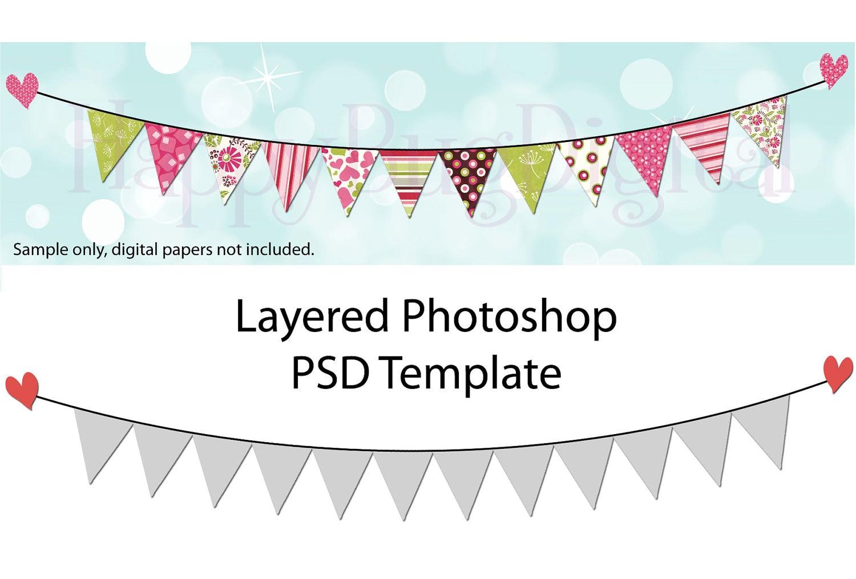 pennant flag garland photoshop template bunting pendant. Black Bedroom Furniture Sets. Home Design Ideas