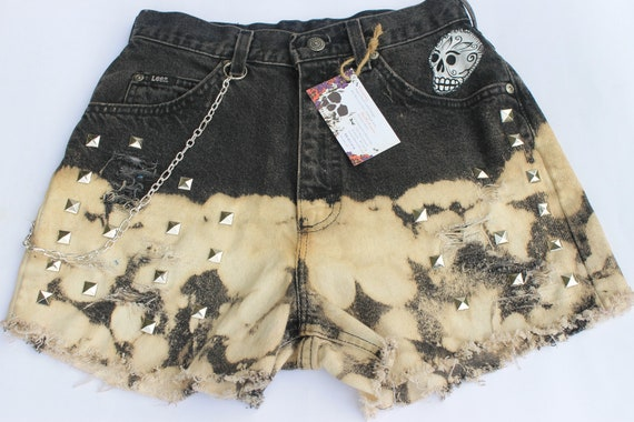 Sugar Skull Day of the dead , Vintage High Waist , Distress, Bleached,Studs , Sz US  8 , Gothic , Hipster By: Tranquilityy