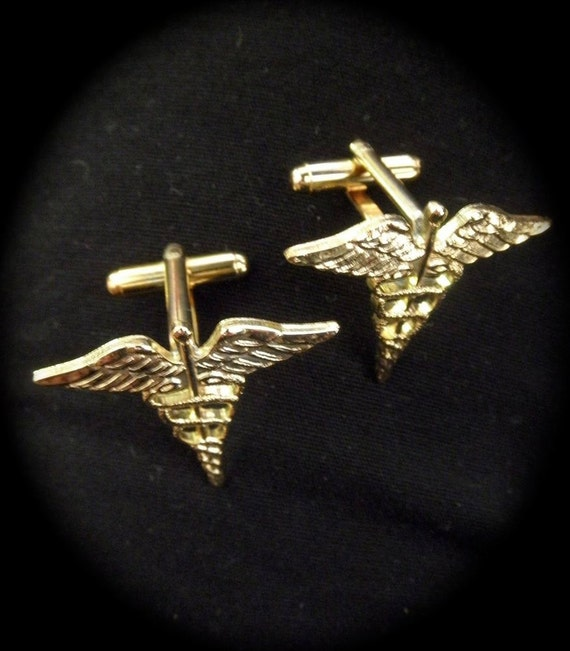 Vintage 1970's Men's Gold Medical Caduceus Cuff Links Marcus Welby, M.D.