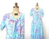 vintage skirt - blouse set / Aqua - rayon gauze / Watercolor floral & fruit - 1980's summer