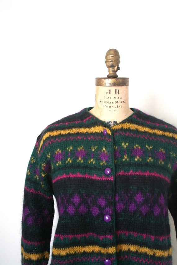 vintage cardigan sweater BENETTON fair isle MOHAIR amp; WOOL 198039;s