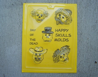 Happy Skulls Sugar Skull Molds/Candy Molds - Day of the Dead