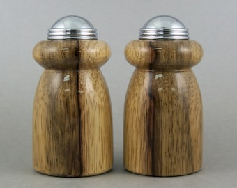 Salt and Pepper Shakers - Handmade Black Limba with chrome caps