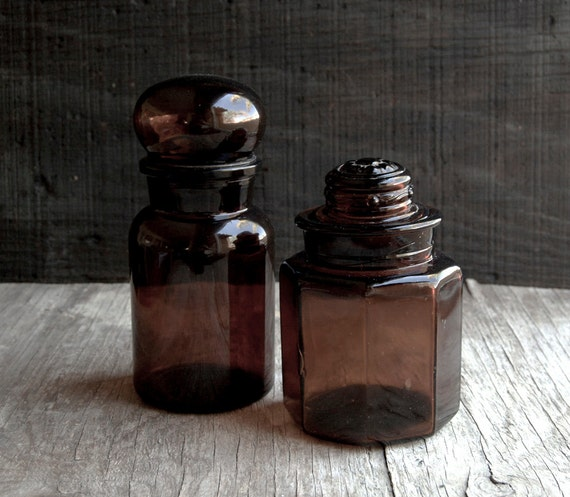 Large Amber Apothecary Bottles - Amber Brown -Vintage Glass Counter Jars