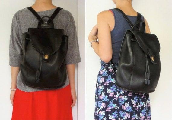 vintage women men COACH 9943 distressed black leather backpack knapsack bag