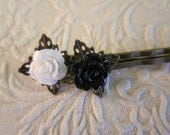 Brass Hair pins with Roses White and Black