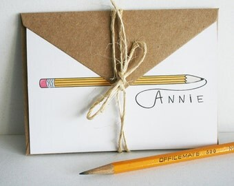 Personalized Pencil Stationery -- A N N I E -- Contemporary Stationery Set of Custom Notes & Envelopes -- CHOOSE YOUR QUANTITY