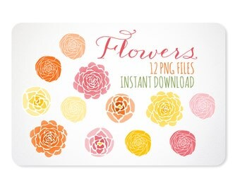 Pink Orange & Yellow Flowers Design Elements - Instant Download