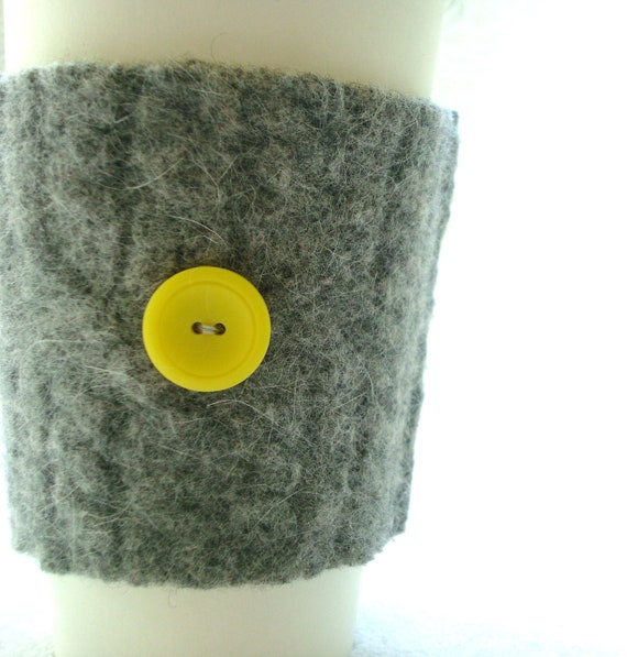 Wool Coffee Cozy Sleeve GRAY and YELLOW Felted Sweater Wool Cosy